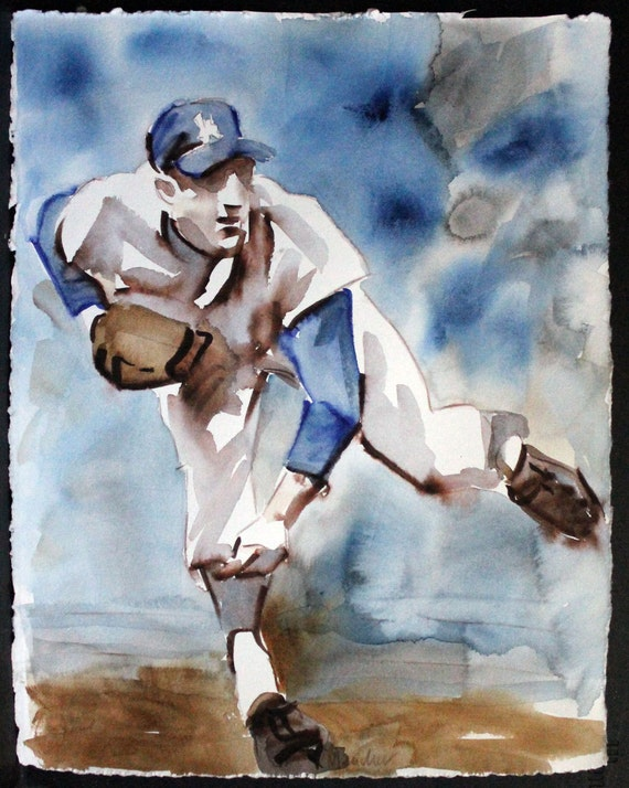 "Baseball: Sandy Koufax Fires One In, watercolor on Rives BFK 14""x11"" by Kenney Mencher"