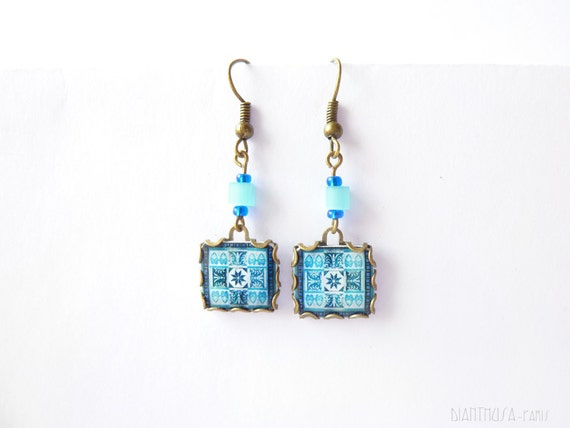 French tiles Earrings with vintage drawings  Blue, white floral and  medieval drawings
