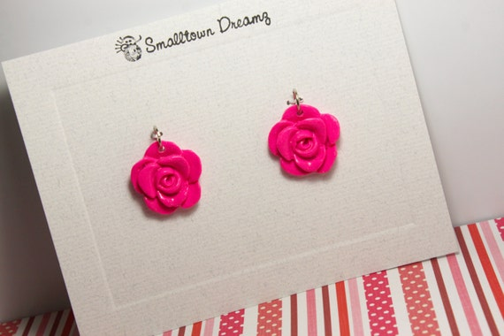 Hot Pink Polymer Clay Pendants/Charms(Set of 2)