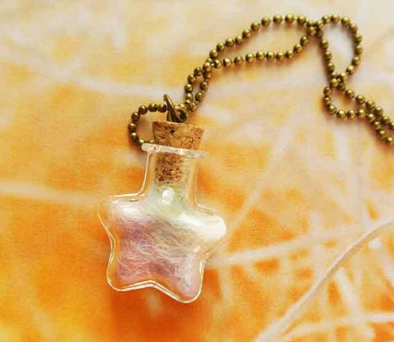 10% Shooting SALE Star Bottle Necklace Icecream colour wool,Gift For Her