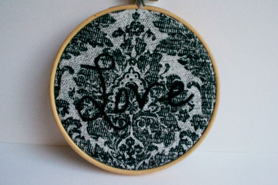 Love - embroidered damask hoop art