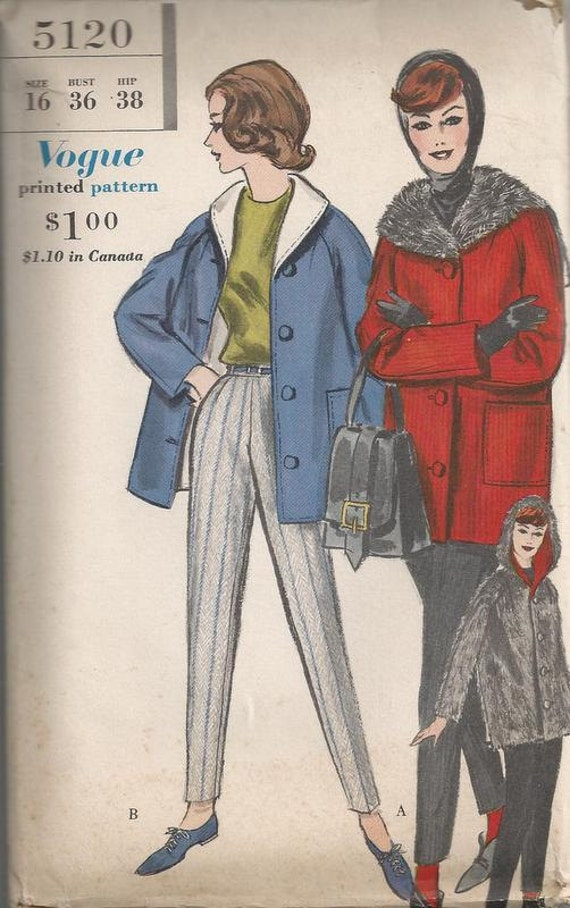 1960 Slim Straight Slacks with Reversible Coat with Convertible Hood Vogue 5120 Size 16 Bust 36 UNCUT