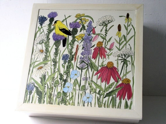Nature Box with botanical garden flowers handpainted