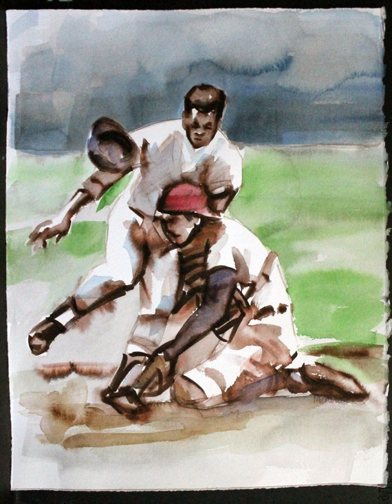 "Baseball: Nobody Guarded Homeplate Like Johnny Bench, watercolor on Rives BFK 14""x11"" by Kenney Mencher"
