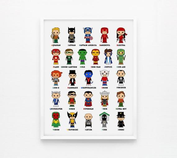 Gallery For gt Superhero Alphabet Flash Cards