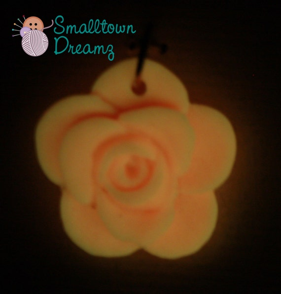 Glow in the Dark Orange  Blended Mix Polymer Clay Pendants/Charms(Set of 2)