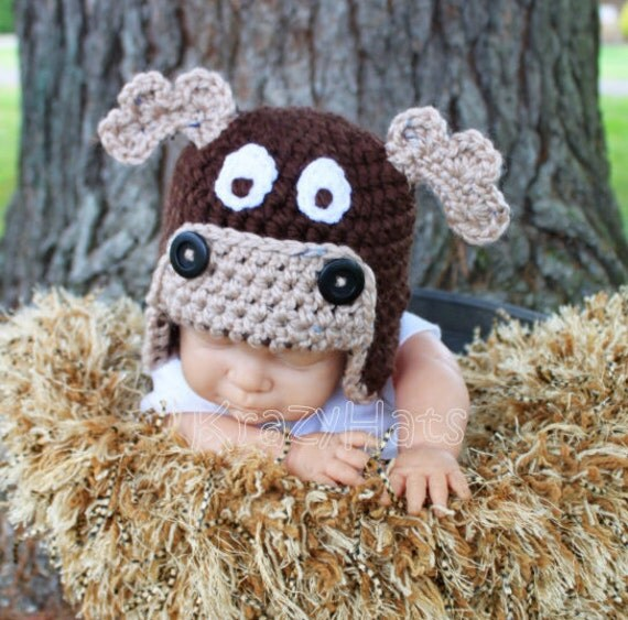 Items similar to Crochet Moose Hat. Moose hat.Size Newborn ...