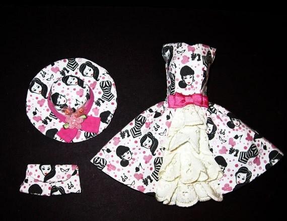 3 piece set Silkstone Nostalgia Garden Party Dress Hat Purse with Vintage No. 1 Barbie Prints