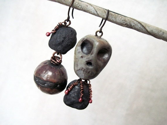 Vigesimation. Asymmetrical Dangles with Ceramic Raku Art Beads And Rosy Copper.