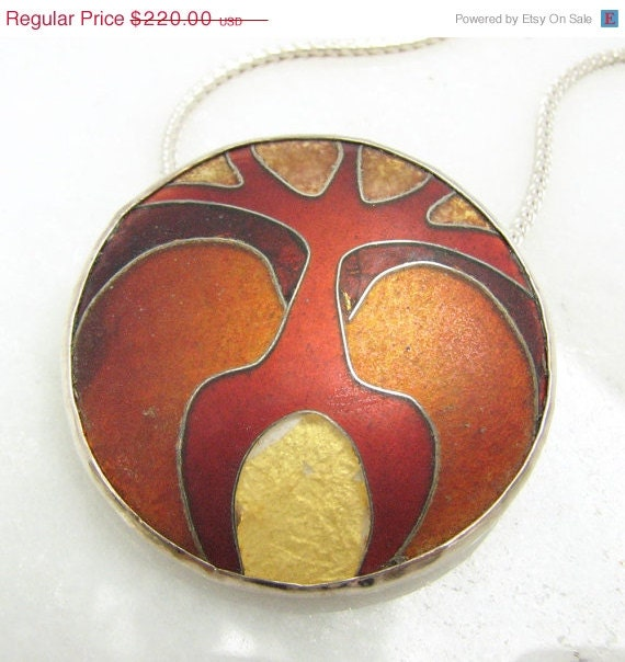 15% OFF Christmas SALE Glass Enamel Cloisonne pendant in red orange and gold - prox