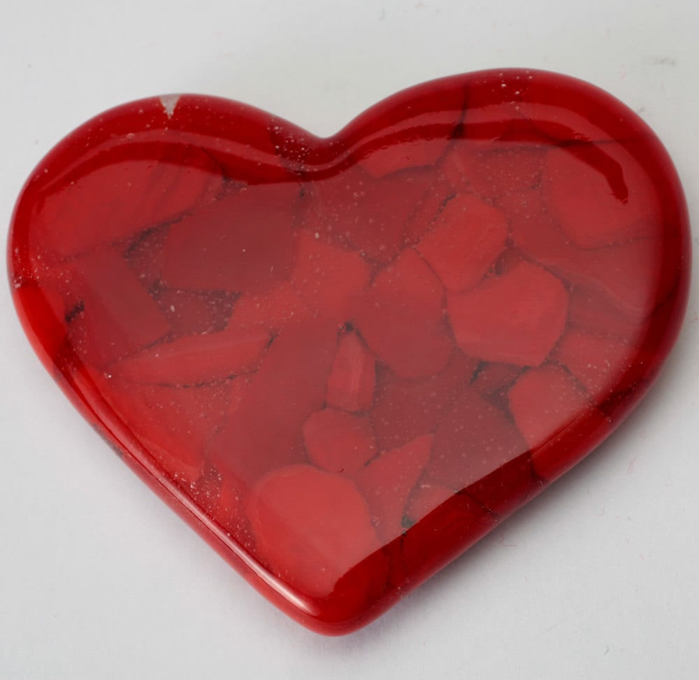 Heart shaped Fused glass pocket mirror, 3.5 x 2.5 inches - Artdefleur