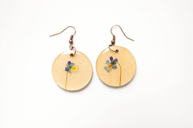 Elegant pansies Wood Earrings - Bymagicdoor