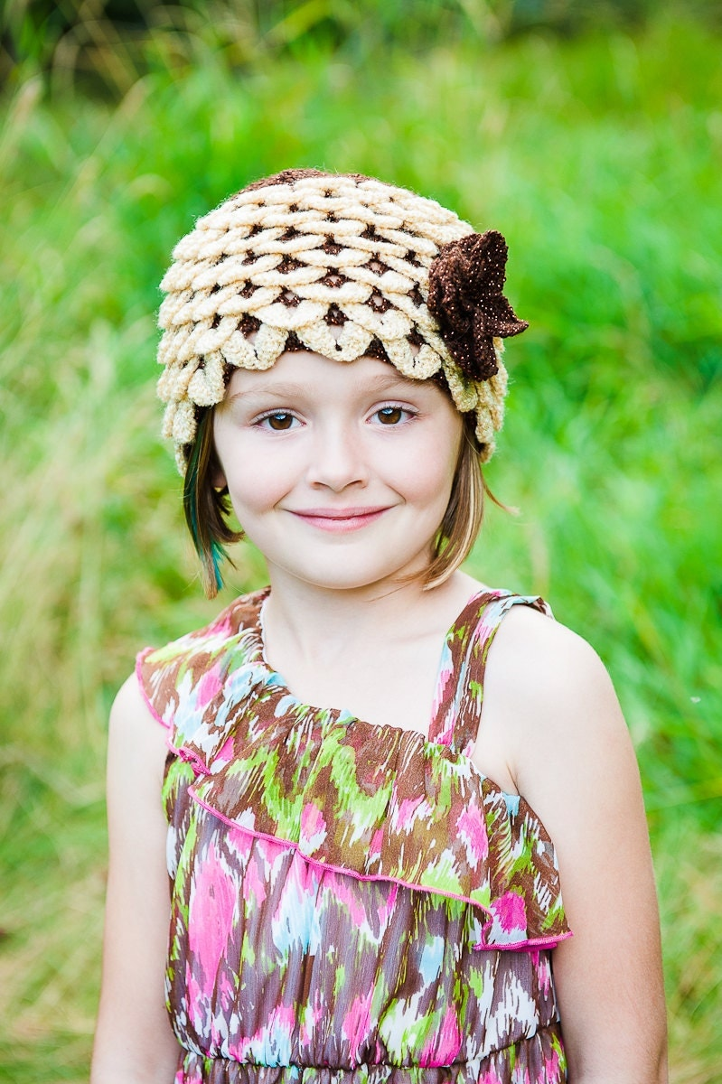 Fall Dragon Scale Floral Hat - Child sized