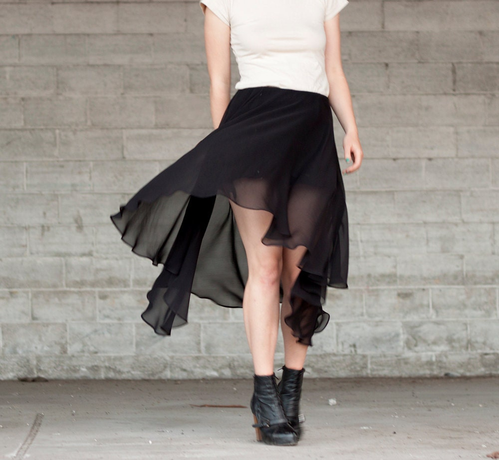 Hi lo hem skirt - storm black sheer silk chiffon, modern minimalist fashion - medium - murmuration