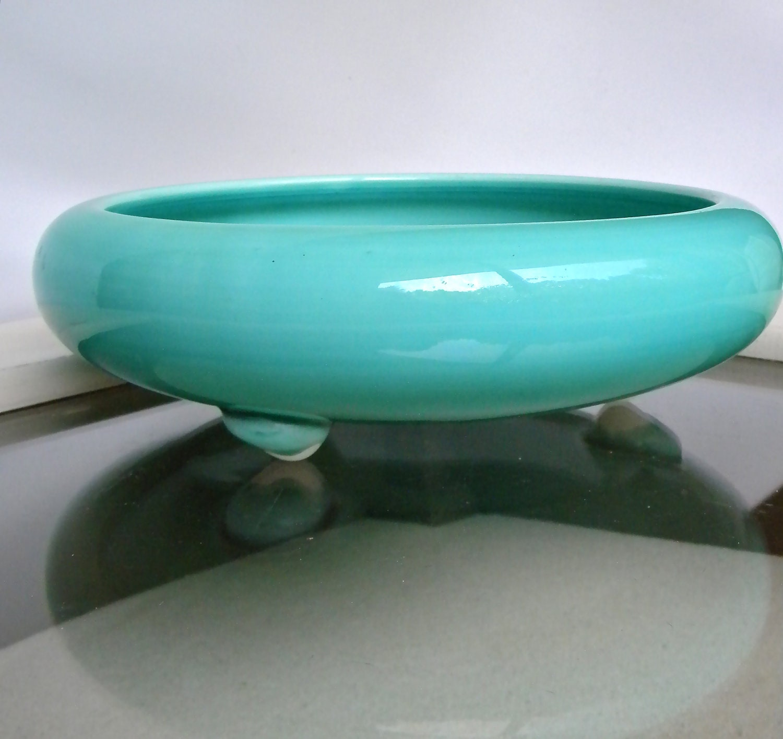 Vintage Turquoise/Teal  Aqua Blue Mid Century Ceramic Planter