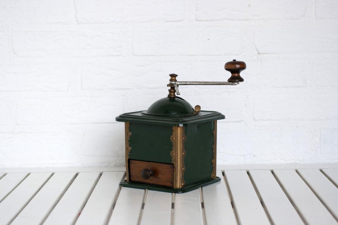 Large Vintage German Green Metal Coffee Grinder with Wooden Drawer