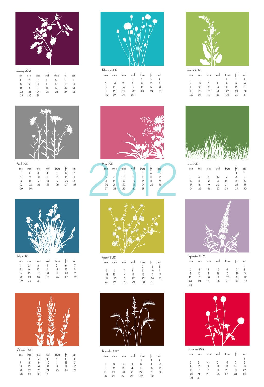 2012 Recycled Paper Floral wall calendar