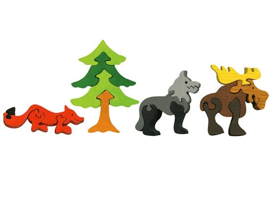Packege of 4 pieces-Montessori-Waldorf maple wood puzzles- Wild animals - Ludimondo