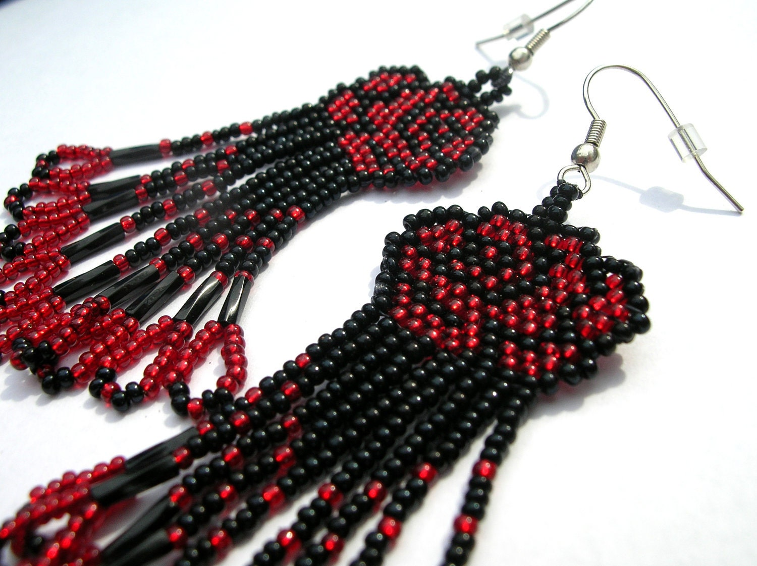 Beautiful Black and Red Beaded Rose Earrings