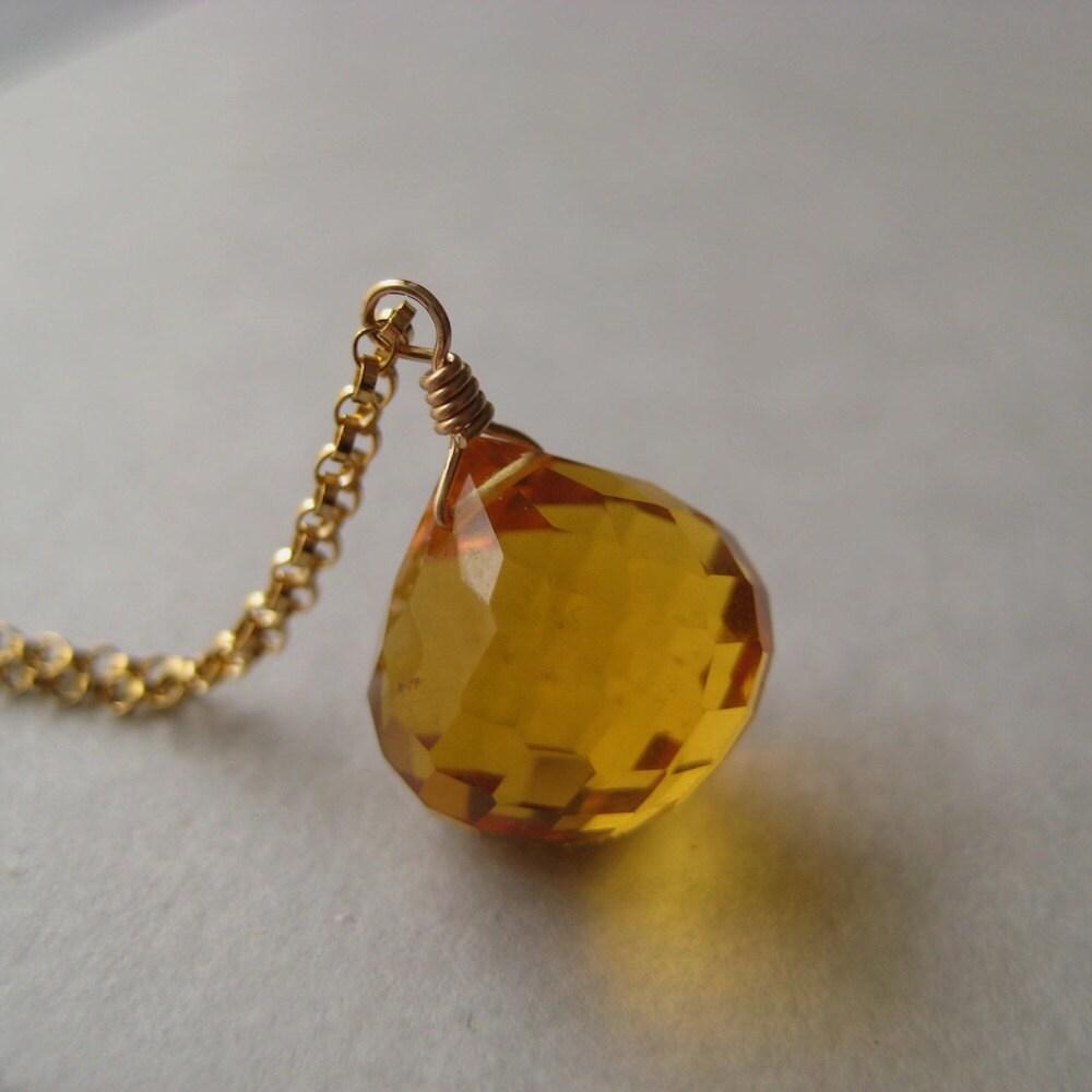 Gold Quartz Necklace, Faceted Gold Quartz Briolette Gold-Filled Chain Necklace - juliegarland