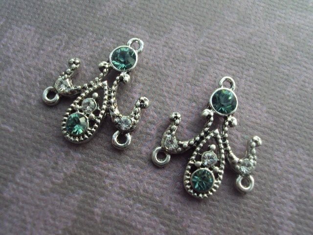 Teal Green SWAROVSKI CRYSTAL 2 HoleChandelier Earring Findings Components 20x15mm 1 Pair... Wedding, Bridal...