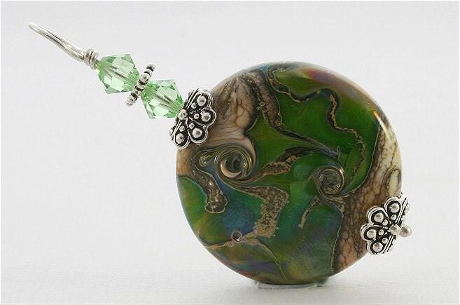 Handmade Lampwork Pendant SRAJD FireSong Creations Green Ivory Organic - FireSongCreations