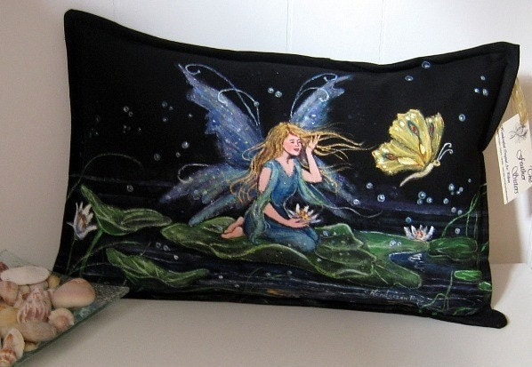 artistic accent pillow handpainted fairy lily pad butterfly   price