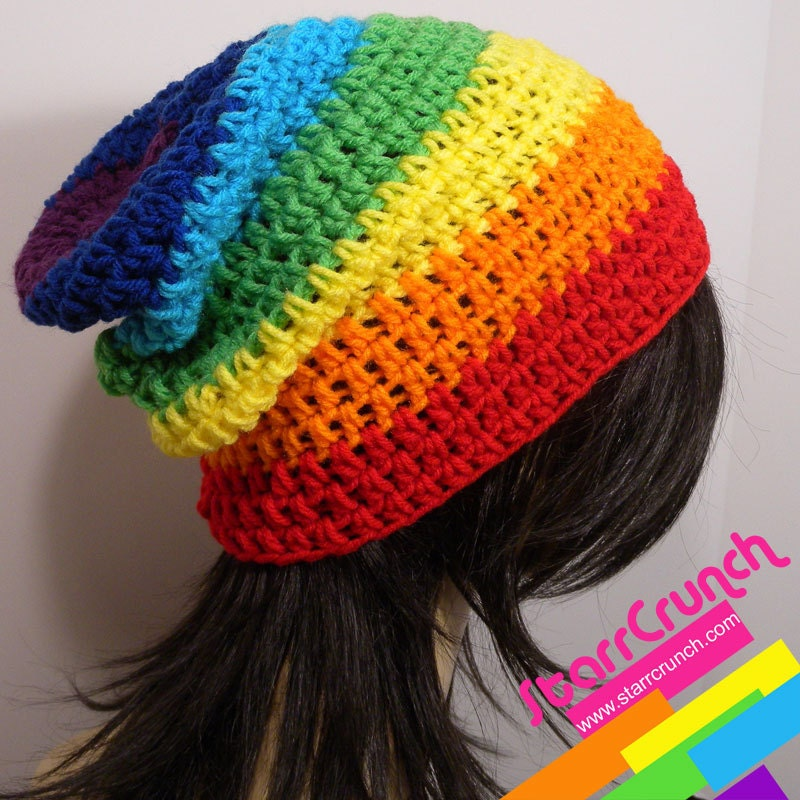 Slouchy Beanie Crochet Hat In Chakra Rainbow Stripes Craftjuice