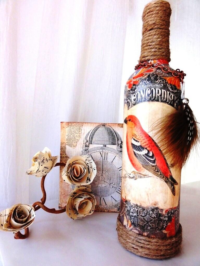 Габриэль-1920-Vintage Вдохновленный Бутылка Ваза с птица этикетки и Accent перо