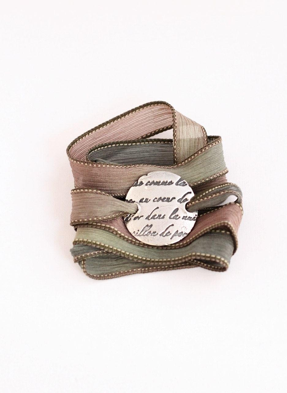 French Script Fine Silver Silk Ribbon Wrap Bracelet Precious Metal Clay Bracelet Romantic French Writing Earth Tones Khaki, Sage - BlueSailStudios1