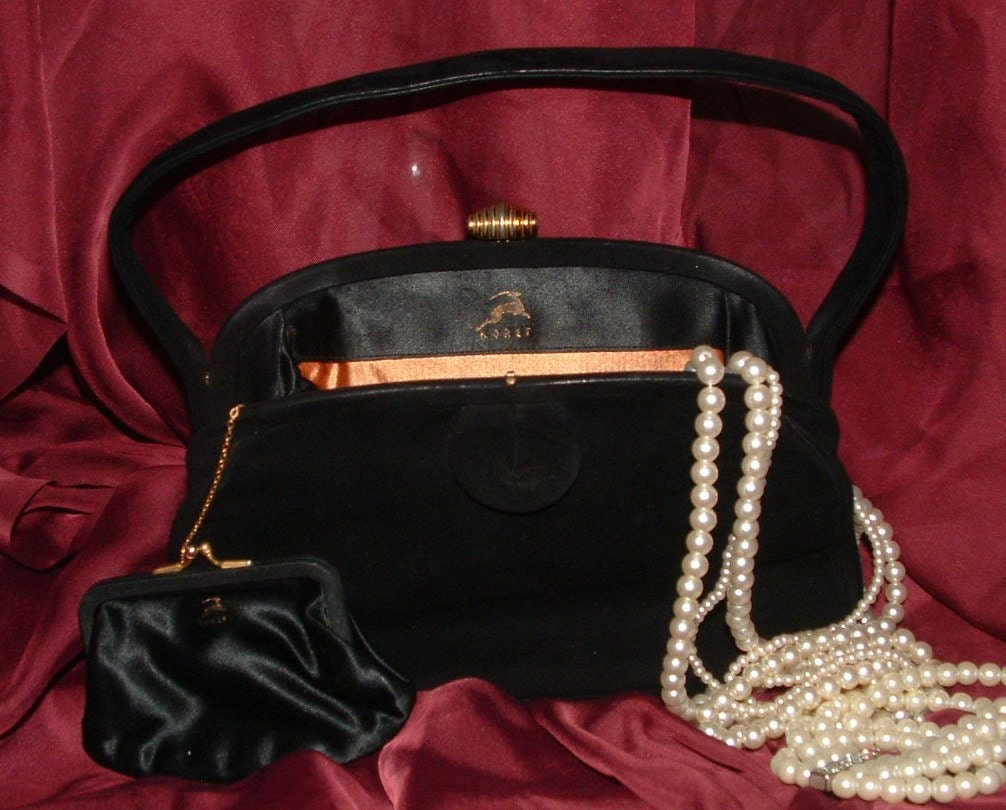 Vintage Black Suede Koret Evening Bag.
