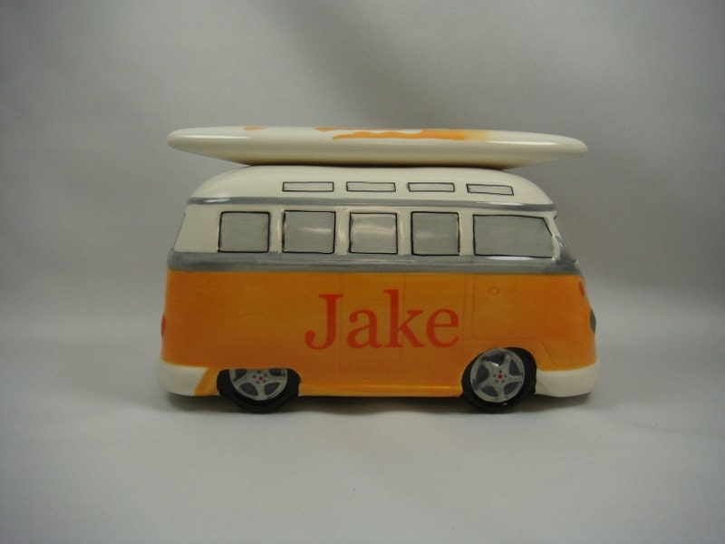 Golden Yellow and Orange California Surfing VW Van Personalized Bank - personalize4you