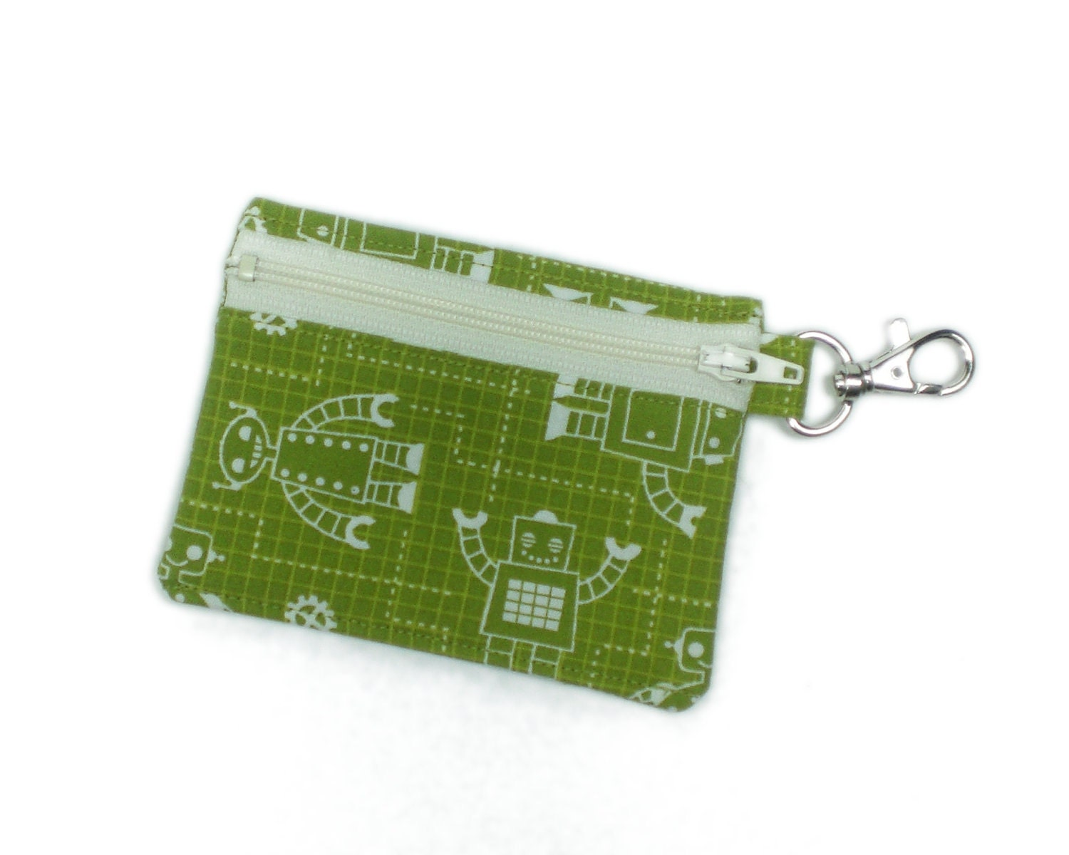 Green robots 4in geek wallet zipper card holder coin purse