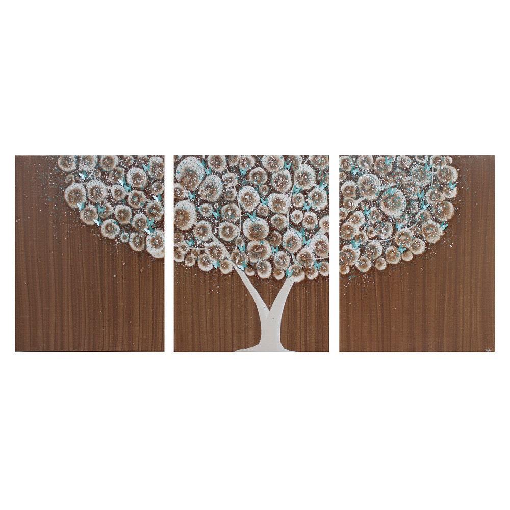 Большой Живопись Брауна Дерево - Оригинальная картина, акрил Триптих холст 50x20 - Teal Декор Детская Бабочка