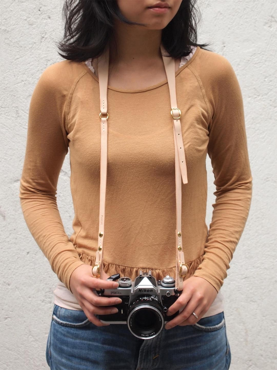 Personalized Camera Neck Strap with Adjustable Length - Leather - Nude - Hand Stitched