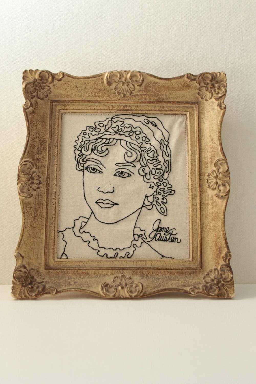 Урожай кадров Wall Art Джейн Остин ручной вышивкой Портрет оригинальную рамку искусства Винтаж рисования