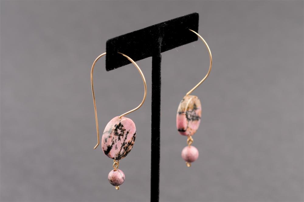 "Pink Rhodonite and Gold Filled Earrings - ""Rose Romance"""