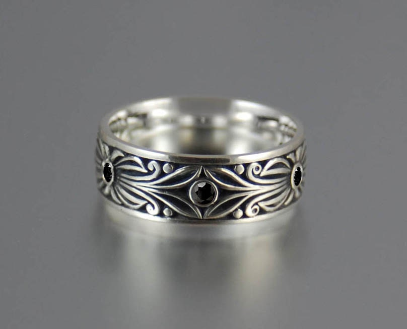 BLACK COUNT sterling silver wedding band