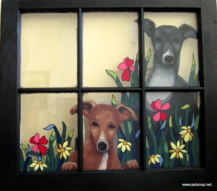 Pet Portrait Whippet Greyhound Window Hand Painted Dog Art