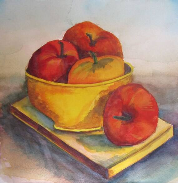 Bowl of Fruit, Red and yellow Apples, Original Watercolor Painting by Kathy Olson