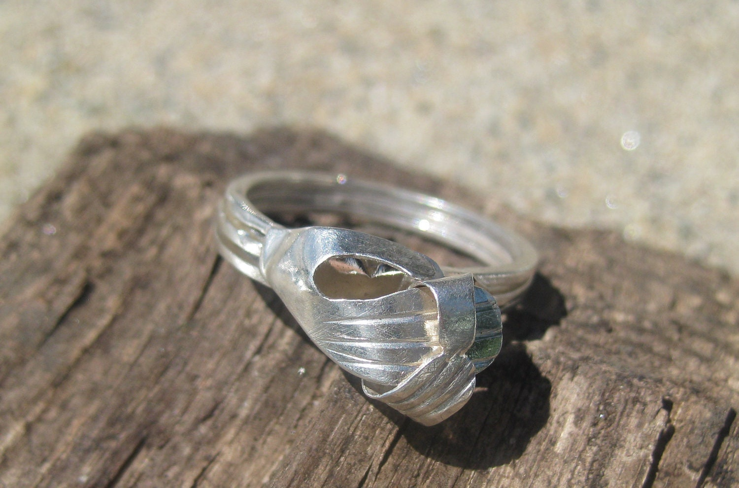 Holding Heart Silver African Ring
