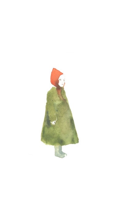 little red riding hood, large postcard or poster, watercolor