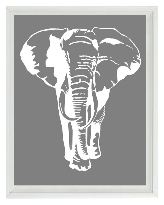 Elephant Nursery Wall Art Prints  - White Gray Decor Silhouette - Children Kid Room Safari Africa Home Decor 8x10 Print