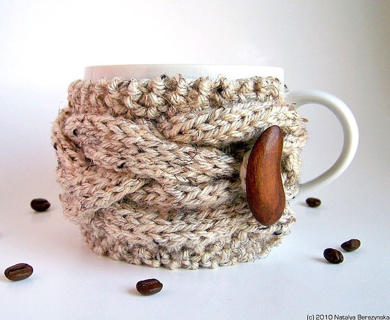 Knitted Cup Cozy, Knit Mug Cozy, Oatmeal Cup Cozy, Neutral Mug Cozy, Coffee Cozy Sleeve, Tea Cup Cozy - Acorn Wood Woodland Nature Men