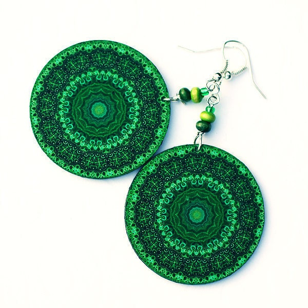 Emerald green mandala Earrings  Round decoupage jewelry green black (34)