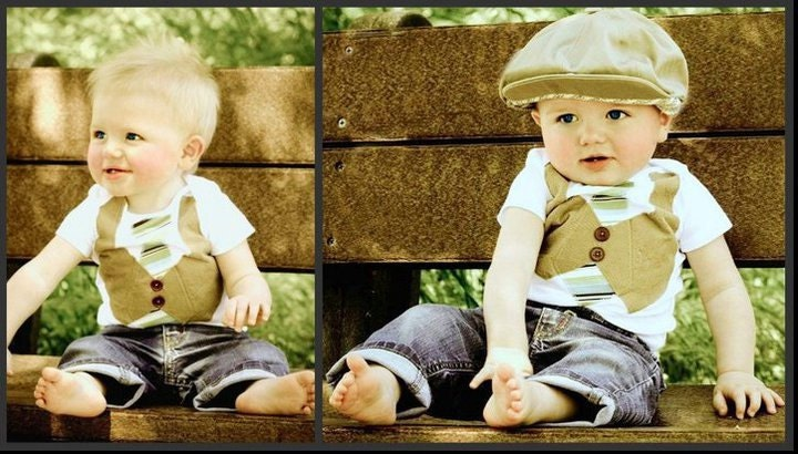 Baby Boy Vest and Tie Onesie. Peferct for your little man. Khaki vest with green and brown stripped tie.