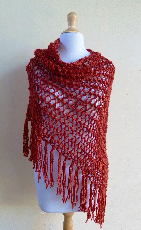 اندازه کت بارانی -- قرمز -- رنگارنگ دست ساز -- مد پاییز زمستان -- شال