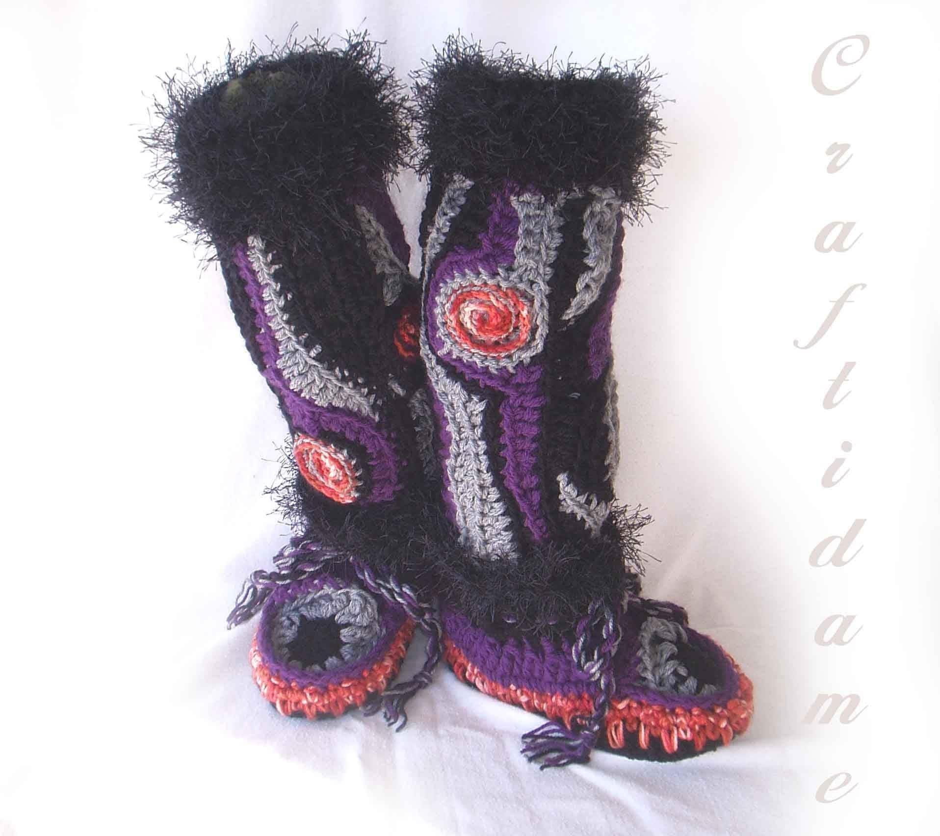 Beginner Crochet Patterns Slippers : CROCHET BOOT SLIPPERS ? Crochet For Beginners