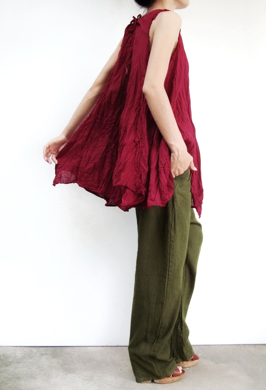 NO.8 Dark Red Cotton Asymmetric Hem Top - JoozieCotton