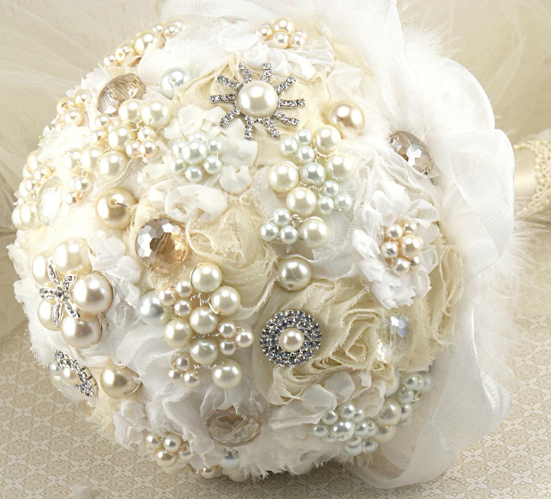 Брошь Букет Pearl Jeweled Букет в белый и слоновая кость с шифона и жемчугом-Небесному